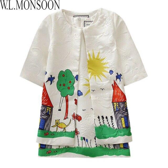 Milan Creations Girls Set Children Clothing 2016 Spring Brand Girls Tracksuit Kids Clothes Graffiti Print Girl Clothing Sets
