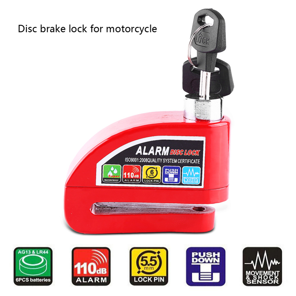 Hot 110dB Motorcycle Scooter Bicycle Anti-theft Disc Brake Lock Security Alarming System Alarm Disc Brake Lock 4 Colors
