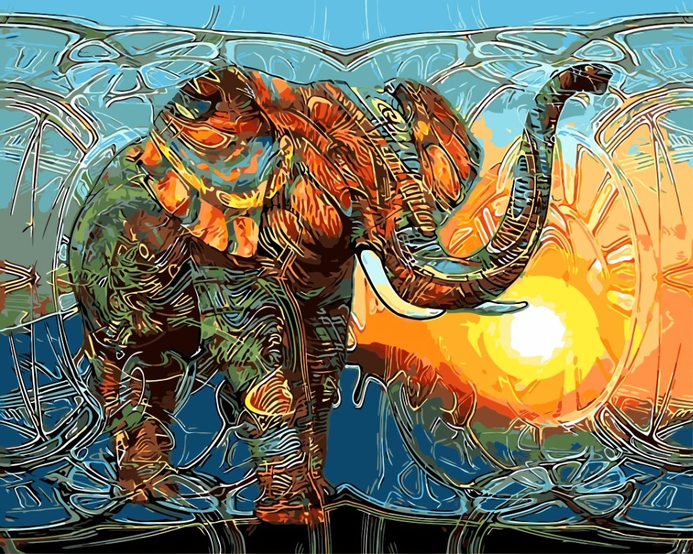 0329MZH09 Home wall Deco picture DIY number oil painting abstract comfortable painting by numbers colorful elephant animal 6101 e066 home wall furniture decorations diy number painting children graffiti painting by numbers