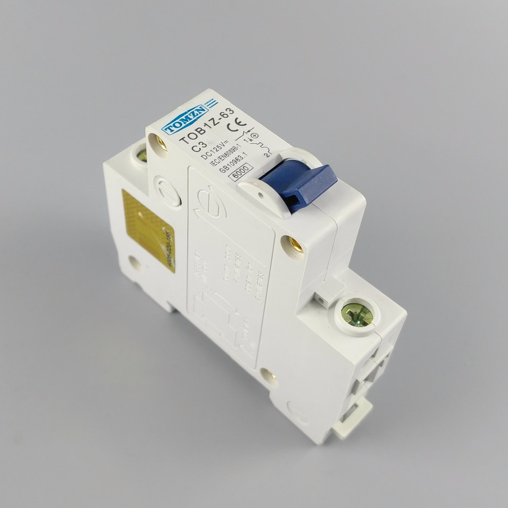 1P 3A DC 125V Circuit breaker MCB C curve цена