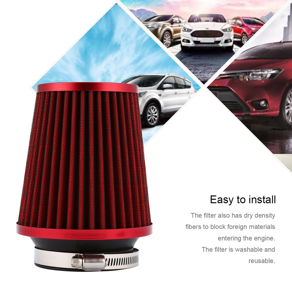 Universal Automobile Car Carbon Filber Air Filter High Quality Auto Air Intake Filter Funnel Air Filter Reusable universal racing carbon fiber cold feed induction kit carbon fiber air intake kit air filter box with fan