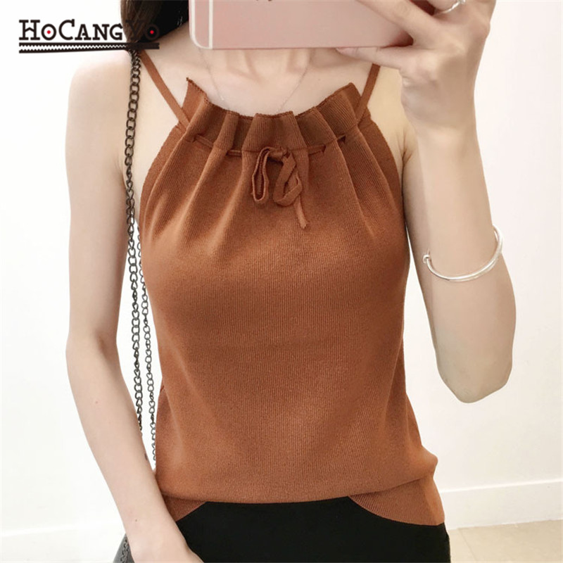 HCYO Knitted Tank Tops Women Thread Vest Slash Neck Tank Tops Blouse Solid Color Camis Fitness Sweater Fashion Sweet Sexy Vest