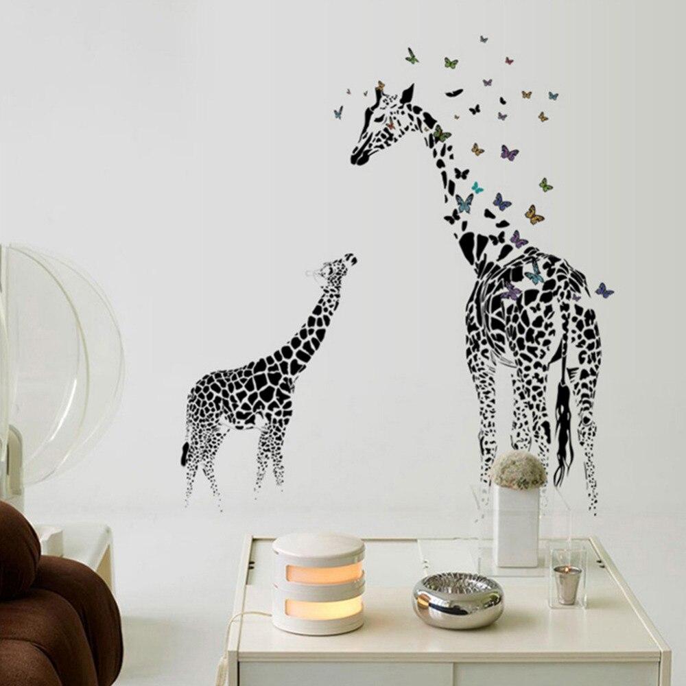 Grand girafe autocollant mural amovible vinyle stickers muraux animaux sauvages papillon noir pour la maison salon décoration De Parede