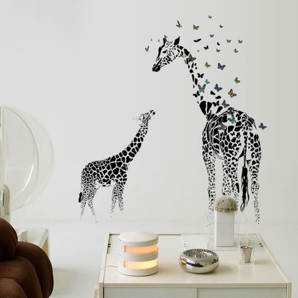 Large Giraffe Wall Sticker Removable Vinyl Wall Decals Wild Animals Butterfly Black For Home Living Room Decoration De Parede