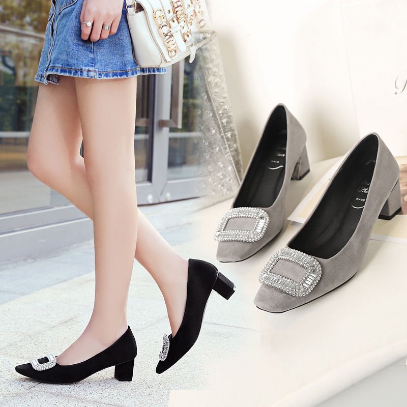 ФОТО Elegant Woman Shoes Square High Heels Square Toe Fashion Crystal Buckle Shoes High Quality Flock Classical Womens Girl Shoes