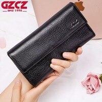 GZCZ 2018 New Women'S Genuine Leather Wallets Fashion High Quality Long Purse Handy Lady Wallet Portomonee Clutch Card Money Bag