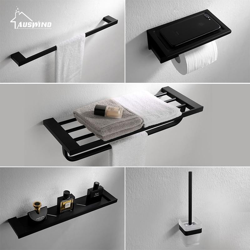 Modern Style Black Bath Hardware Hanger Set Package Towel Rack Bar ...