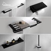 Modern Style Black Bath Hardware Hanger Set Package Towel Rack Bar Paper Holder Shelf Hook Brush Bathroom Accessories Bq10