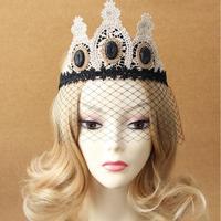 Europa Mode Koninklijke Vintage Gem Kant Gaas Haar Accessoire Meisje Nachtclub Masker Haarband Sluier Vrouwelijke Formele Party Hoofdbanden