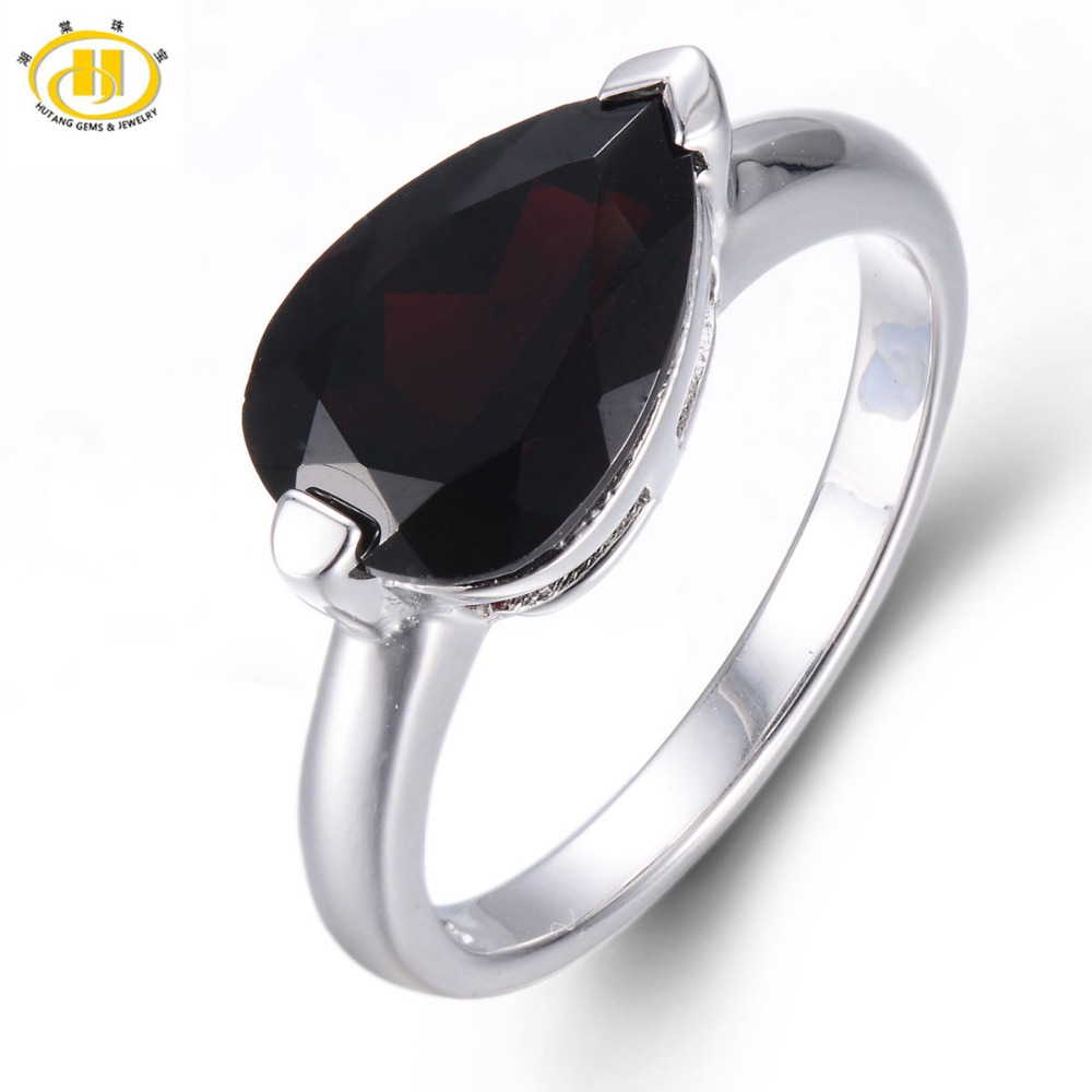 HUTANG 3.0ct Natural Black Garnet Pear Cut Solid 925 Sterling Silver Ring Gemstone Fine Jewelry Womens Xmas Gift Black FridayHUTANG 3.0ct Natural Black Garnet Pear Cut Solid 925 Sterling Silver Ring Gemstone Fine Jewelry Womens Xmas Gift Black Friday