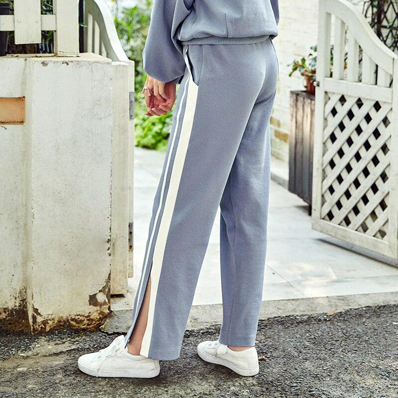 Azul Otoño Artka Claros Ka10081q Azules Casuales Letras Mujer Estampado Detectable De Nuevos Ribbon Split Lisos Pantalones 2018 Rayas Cielo T5w5qxrR