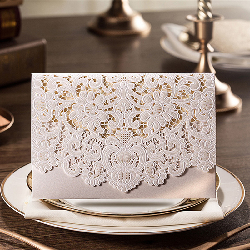 50pcs Gold Red White Pink Flora Wedding Invitations Card Laser Cut ...