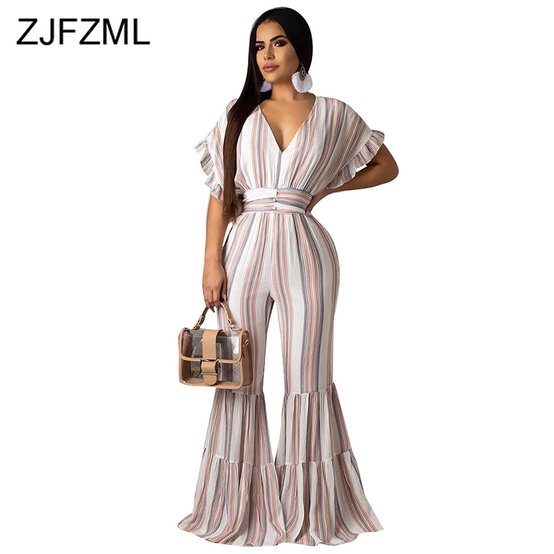 Stripe Print Sexy Bodycon   Jumpsuits   Women Deep V Neck Short Ruffle Sleeve Flare Bodysuit Summer Backless Beach One Piece Overall