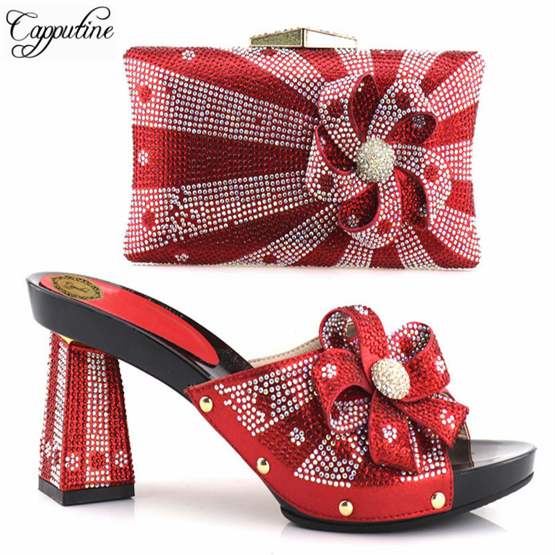 Capputine New Arrival Red Color African Matching Shoes And Bags Italian In Women Party Shoes and Bag Set Women Shoes and Bag Set italian shoes with matching bags african women shoes and bags set in hot selling blue shoes and bag set to matching hjx1 12