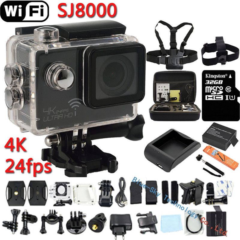 ФОТО Brand New Ultra HD 4K Cameras 24fps WiFi Sport Action Camera 1080P 60fps 2.0 LCD 170D Len Helmet Cam Waterproof MINI Camcorder