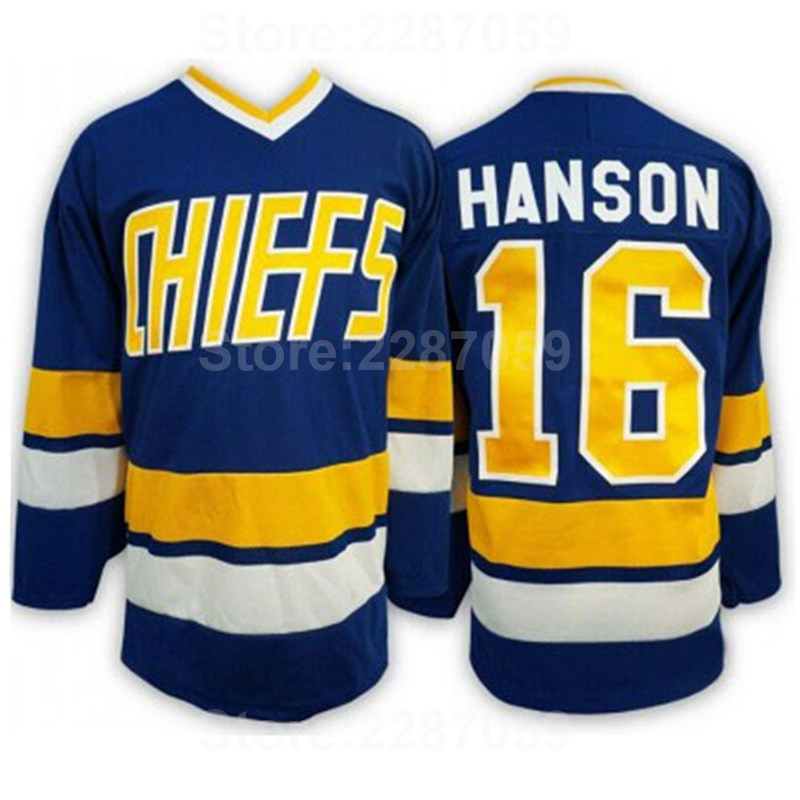 Ediwallen Charlestown РУКОВОДСТВО 16 Джек Хэнсон Форма для хоккея воротам фильм Вышивка и Вышивание Team Blue Альтернативный Белый