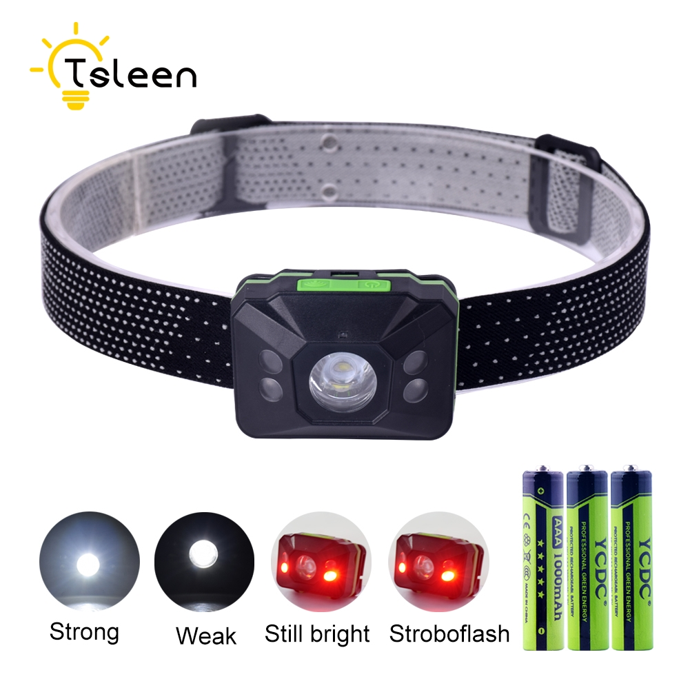 Cheap Mini Body Motion Sensor Headlight Rechargeable LED Headlamp 110Lm Camping Flashlight Head Light Torch Lamp AAA Battery r3 2led super bright mini headlamp headlight flashlight torch lamp 4 models
