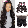 "13""x4"" Peruvian Body Wave Lace Frontal Closure with Bundles 7A Peruvian Lace Frontal with Bundles Ear to Ear Lace Frontal Weave"