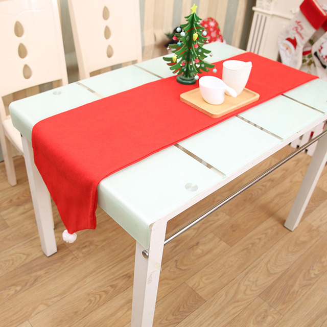 1 Pcs Red Color Christmas Table Runner Xmas Party Dinner Table Decorations  Tablecloth Christmas Flag Home