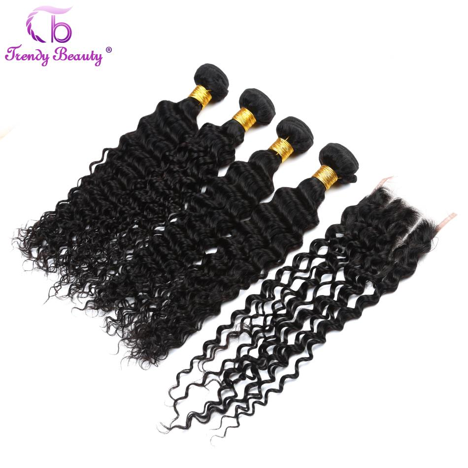 Brazilian Deep Curly Human Hair Weaving 4 Bundles with 1Pc 4*4 Lace Closure Hair Extensions Free Shipping Color 1B Trendy Beauty