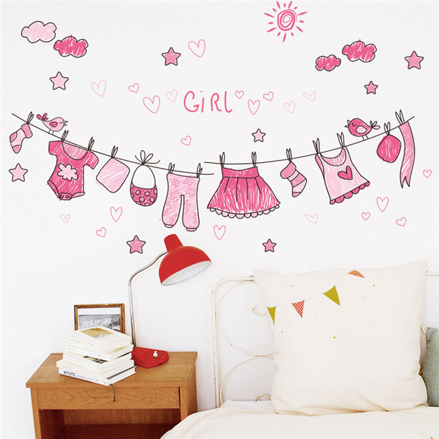 Clothes Wall Stickers Bathroom Toilet Nursery S Bedroom Decals Home Decor Poster Mural Kids Gift