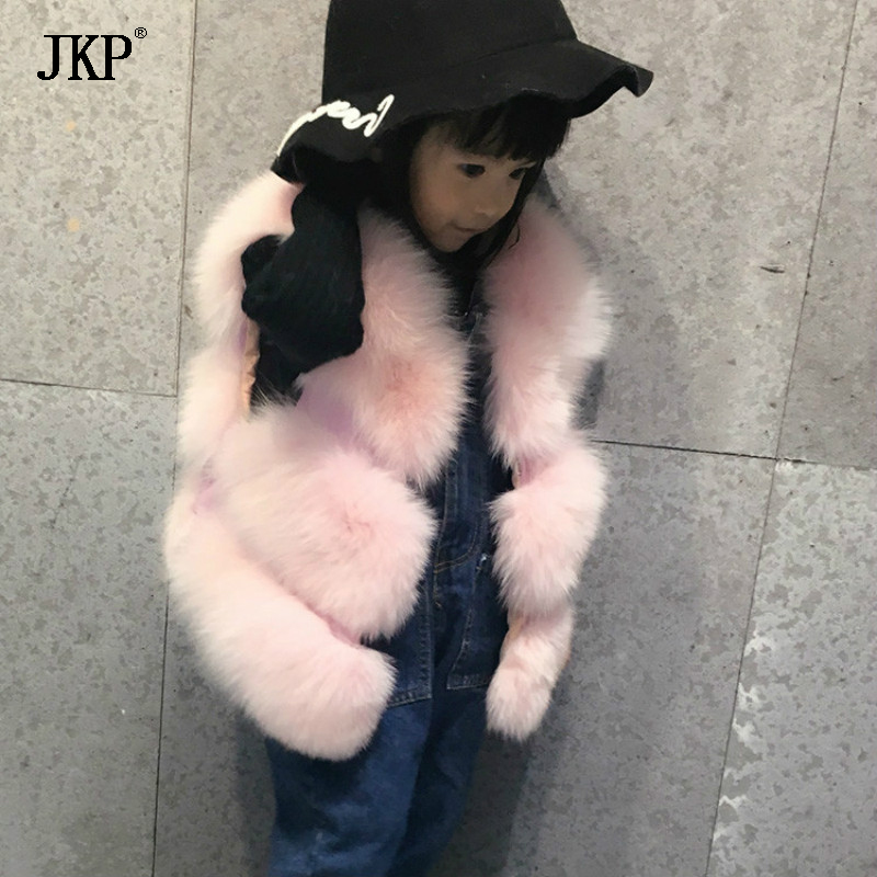 JKP 2018 New Autumn and winter Children new genuine fox fur girls baby coat Korean version of the tide vest waistcoat MJ-01 2018 autumn and winter new children s fur throwing cap vest stitching vest coat vest cotton suit parent child waistcoat zpc 215