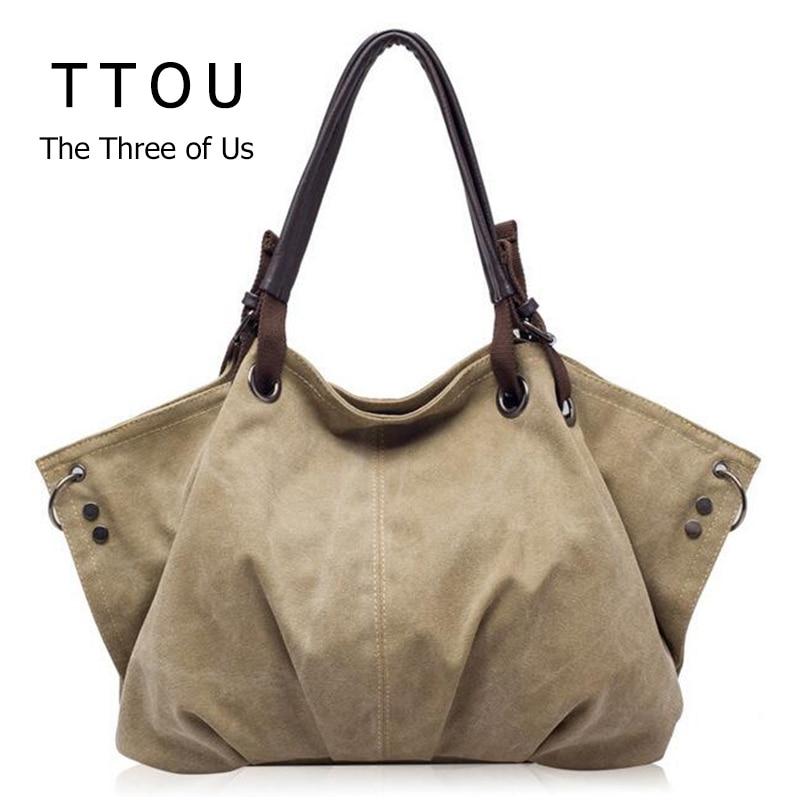 Mujeres moda bolsos de lona Retro gran capacidad bolsas de hombro femenino elegante Casual Crossbody bolsos sólido clásico Totes TTOU