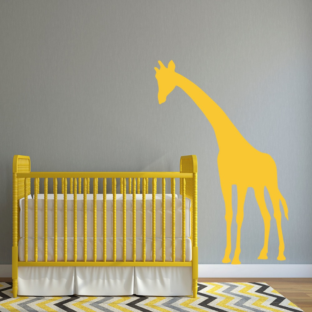 Tall Giraffe Silhouette Wall Sticker for Baby Bedroom Sweet ...