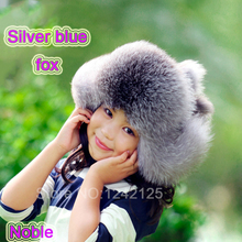 New Russia fur hat Winter Boy Girl Real Fox Fur Hat Parent-child Children Earmuff Warm Fur Hat pompom women Ear fox fur Hat cap