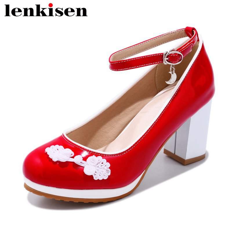 Lenkisen Chinese frog design round toe buckle strap Oriental element high heels wedding shopping large size women sandals L10