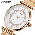 SINOBI Crystal Diamond Gold Mesh Stainless Steel Watches Women Luxury Montre Femme 2016 Waterproof Dress Clock Woman Wrist Watch