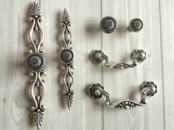 Dresser Knobs Drawer Pulls Handle Sunflower Antique Silver Black Kitchen Cabinet Knob Pull Vintage Style Decorative Hardware майка print bar тигр и бабочки