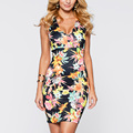 Womens Clothing Vestido Sexy Flower Print Dress Summer Sleeveless Slim Party Evening Sheath Deep V-neck Bodycon Dress 023