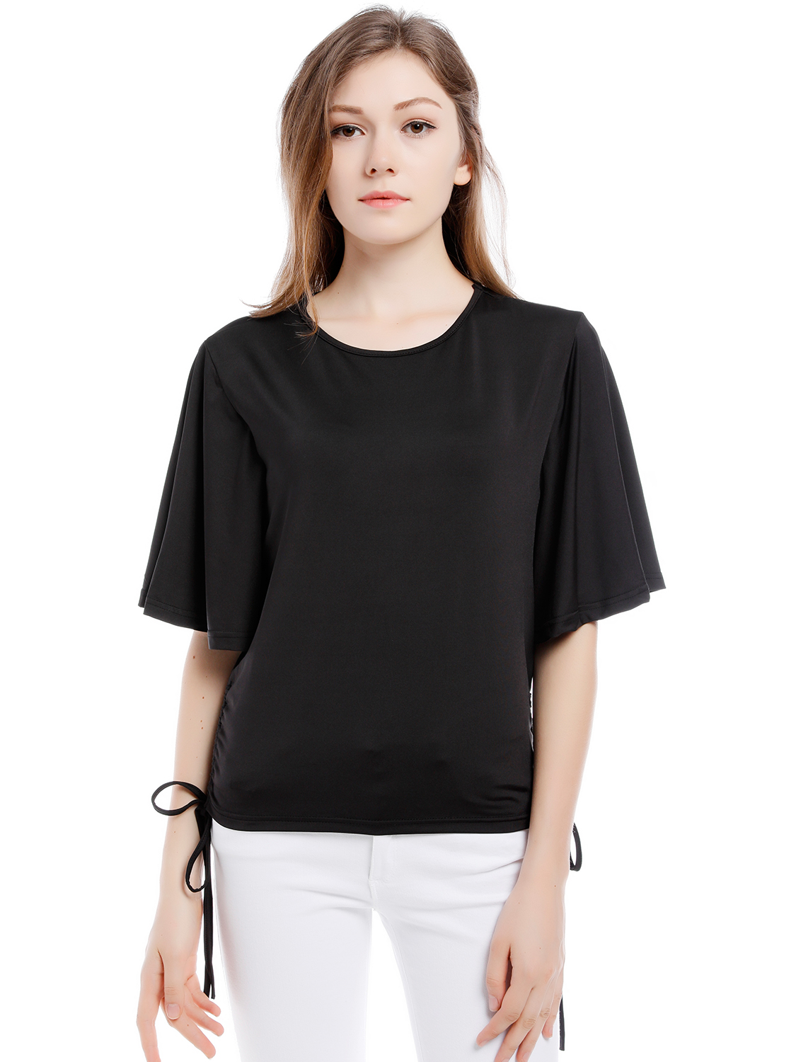 0f3105a90f Blooming Jelly O-Neck Black Blouse Batwing Tops Side Bow Tie For Women  Casual Summer