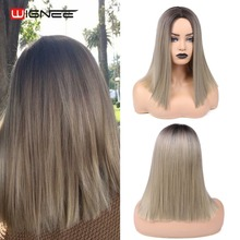 Wignee Short Straight Hair Wig Ash Blonde Synthetic Wigs for Women Middle Part High Density Machine Wigs Glueless Cosplay Hair wignee 2 tone ombre brown ash blonde synthetic wig for women middle part short straight hair high temperature cosplay hair wigs