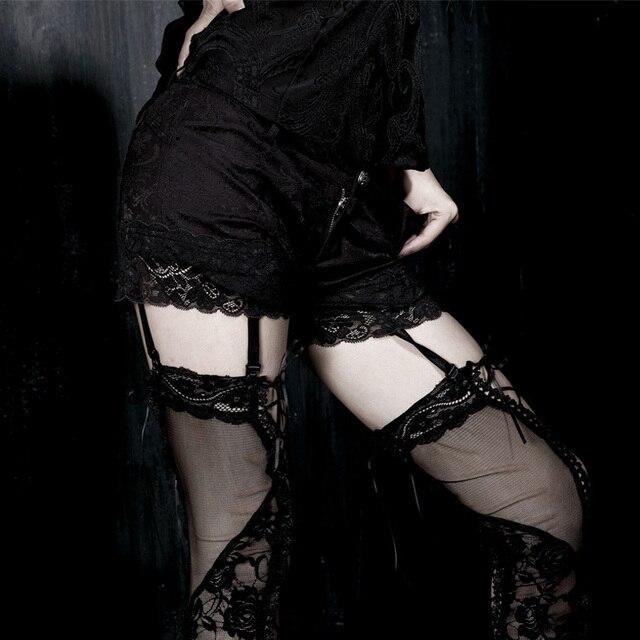 Новый Готический Панк-Моды Черный Мини Кружева Сексуальные Женщины Шорты S-XXL