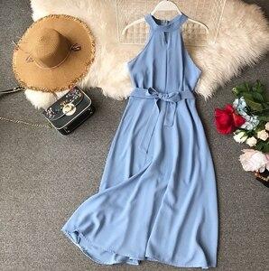 Image 5 - FMFSSOM Women Sexy Hanging Neck Dress 2020 New Summer Ladys O Neck Sleeveless With Belt Medium Long Slim Dresses