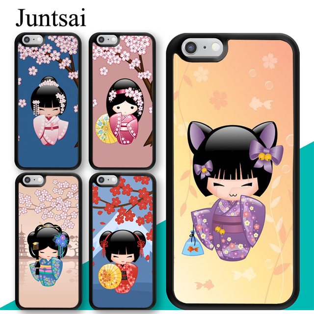 Juntsai Japanese Geisha Kokeshi Doll Printed For iPhone XS MAX XR X Case TPU Back Shell For iPhone 6 6s 7 8 Plus 5s Phone Cover