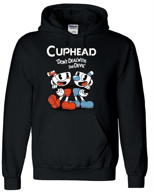 Teacup Cuphead Hoody MugmanGame Black Hooded Jacket Sweater Hoodie Cosplay Costume Tops