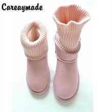 Careaymade-snow boots Europe warm winter wool mouth thick soled boots with low wool shoes short sleeve foot lazy boots,9 colors