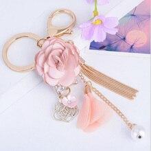 Crystal Rose Flower Tassel Keychain