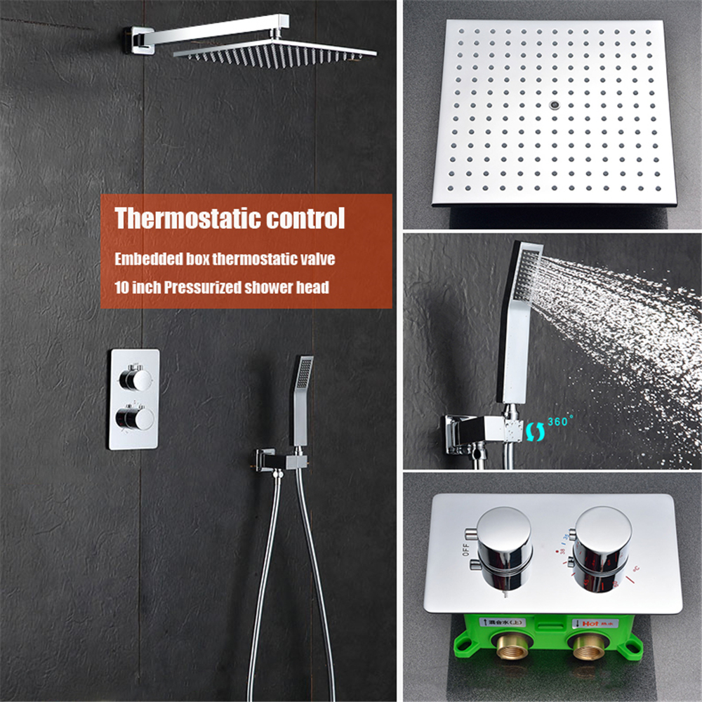 Bathroom thermostatic rainfall shower faucet set system wall mounted ...