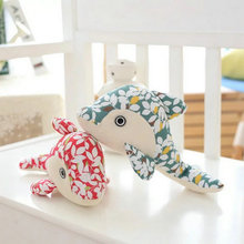 2017 New Style cotton prints Cloth Fish Plush Toys 28 15 8cm Drop Shipping Dolphin Doll