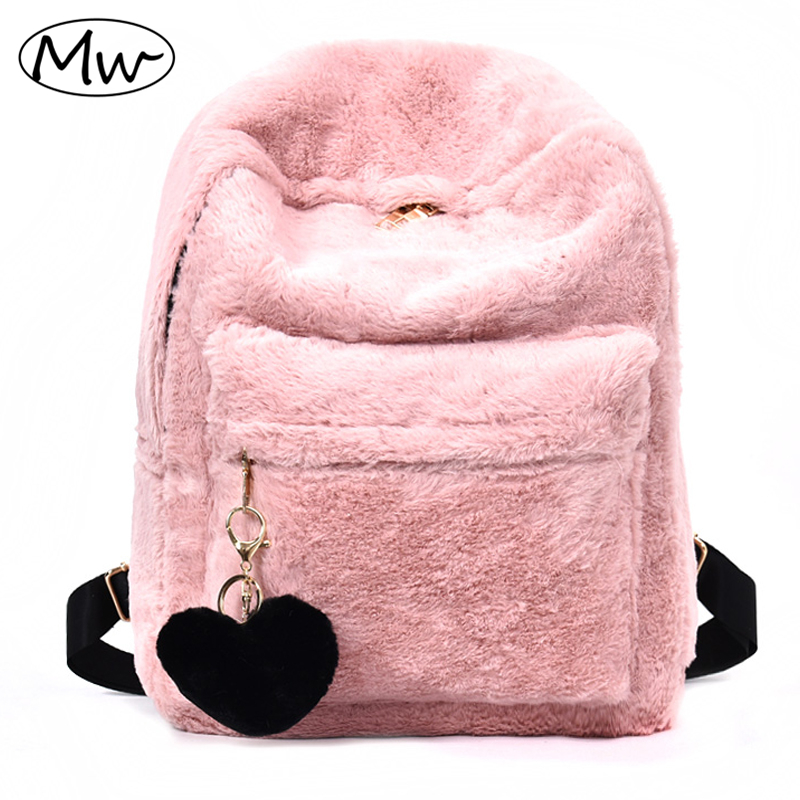 Moon Wood Cute Solid Faux Fur Backpack Heart Pendant