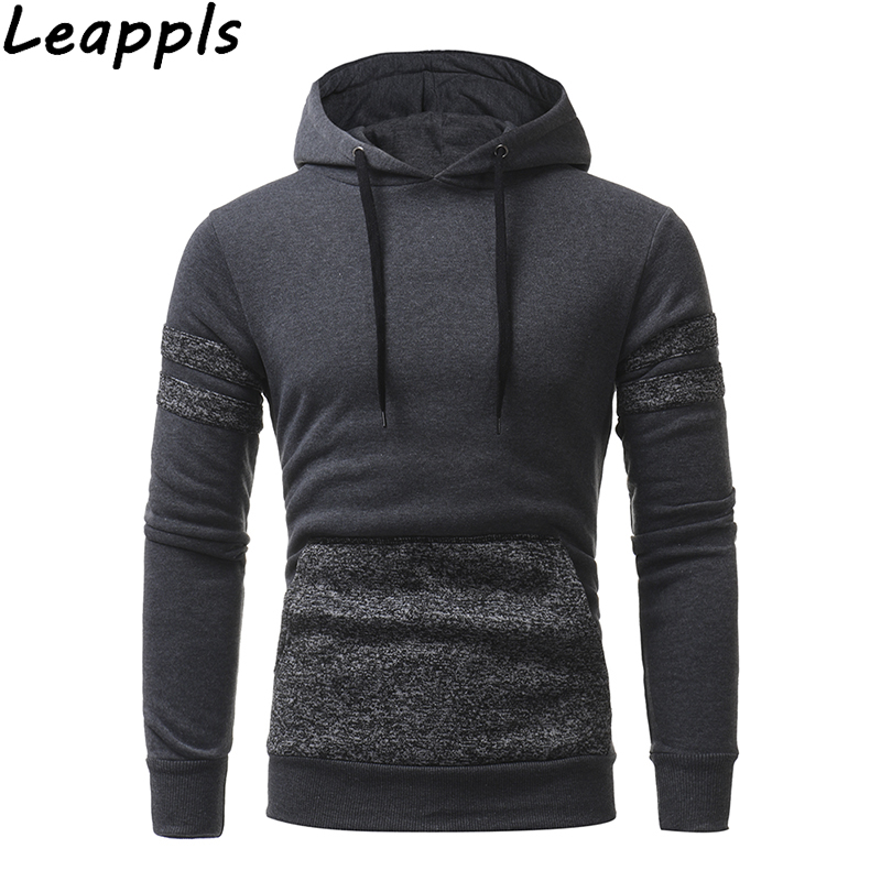 Leappls Hoodies Sweatshirts Men Hooded pullover streetwear Tracksuit men Fashion Patchwork Hoodies sudadera hombre 2018 autumn