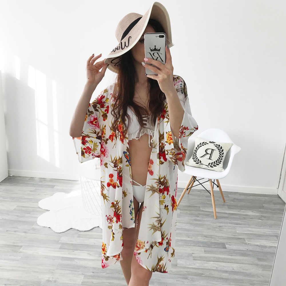 女性のコットンブラウス夏日月花柄緩いショール着物カーディガントップカバーアップシャツブラウスblusas feminina 2色