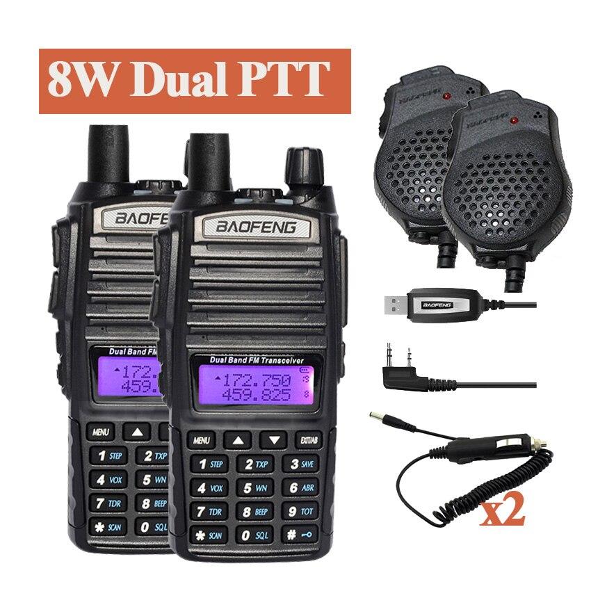 imágenes para 2 Unidades 8 W de Banda Dual de BaoFeng UV-82 Radio Walky talky receptores de Radio Comunicador Jamón UV-82HX UV 5R Walkie Talkie Portátil conjunto