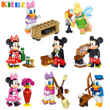 Kitoz Cartoon Mickey Mouse Minnie Donald Duck Daisy Tinkerbell Action Figure Building Block Toy for kid Compatible with lego(China)