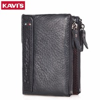 KAVIS Wallet Men Top Quality 100 Genuine Leather Fashion Credit Card Holders Male Purse Two Zipper