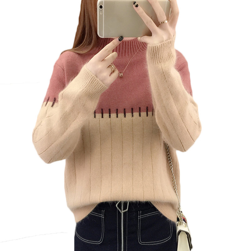 Knitted Sweater Stitching Winter Pullover High-Quality Velvet Loose-Plus Thicken LQ404